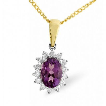 9K Gold 0.21ct Diamond & 7mm x 5mm Amethyst Pendant, E2617